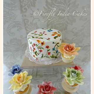 Hand painted cake & 'watercolor' rose cupcakes