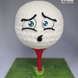Anxious Golf Ball Cake
