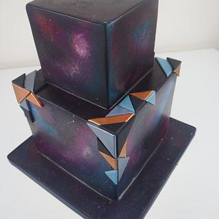 Geometric Galaxy Wedding Cake