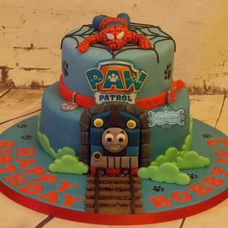 Thomas,SpiderMan,paw patrol. - Cake by kerrycakesnewcastle