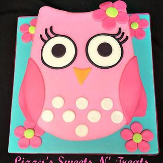 Pink baby owl Smash cake