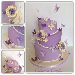 3 tier topsy turvy wedding cake