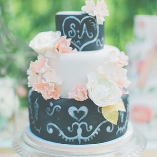 Romantic blackboard wedding cake