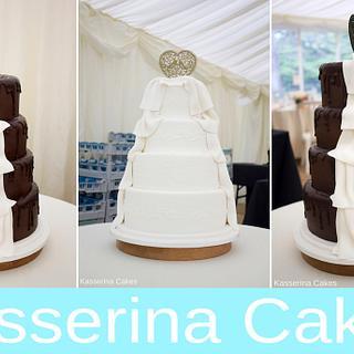 Half and half / his and hers wedding cake