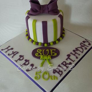 Purple and Green 50th Birthday Cake - Cake by CakesByEmmaB