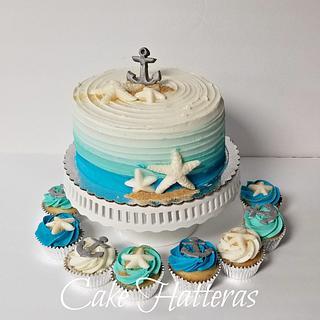 Nautical Birthday Cake and Cupcakes - Cake by Donna Tokazowski- Cake Hatteras, Hatteras N.C.