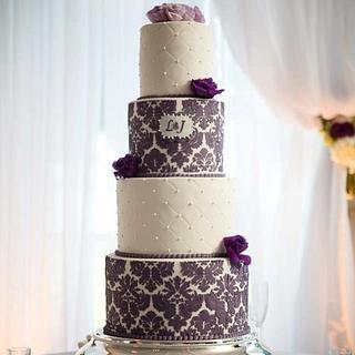 Purple Damask Cake - Cake by Jennifer Fedje