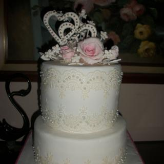 Rose Blush Lace Wedding Cake - Cake by Li'l Cakes and More