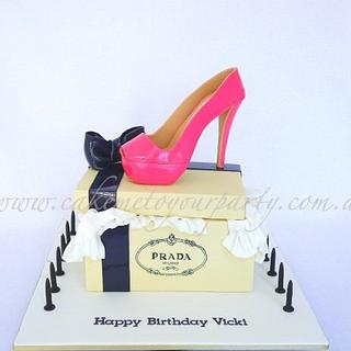 Hot Pink Prada Shoe Cake