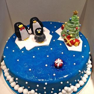 Penguin Family Cake for Christmas