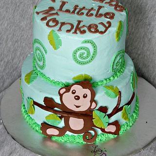 Monkey themed baby shower cake