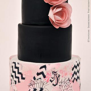 Wafer Paper Decoupage Anniversary Cake - Cake by Esther Williams