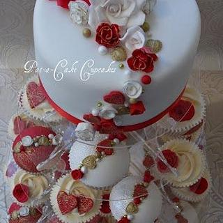 Red and white Roses Wedding Tower