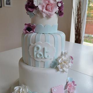 Floral 60th birthday cake