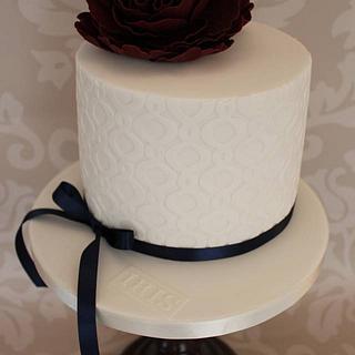 Quatrefoil & Peony Cake.
