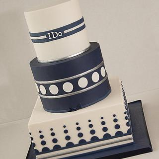 Ivory and Blue Wedding Cake
