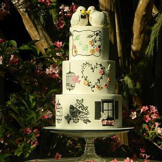 'boho' style wedding cake