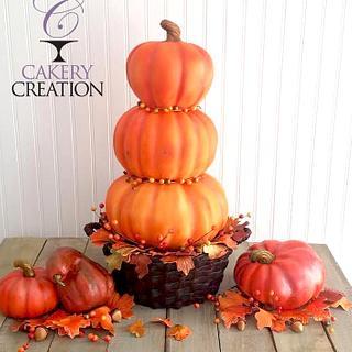3D basket of stacked pumpkins cake - Cake by Cakery Creation Liz Huber