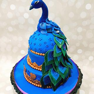 The Peacock themed Ring Ceremony cake - Cake by Dr Archana Diwan