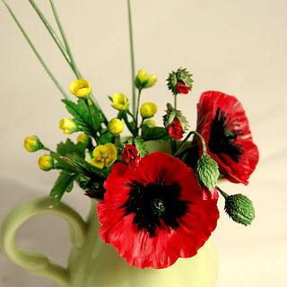 Summer flowers - poppies and buttercup.