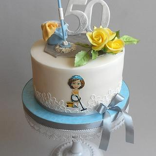 Cleaning lady cake