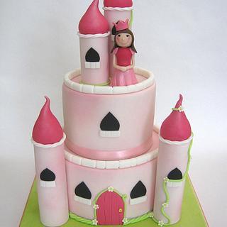 Simple 2 Tier Princess Castle Cake