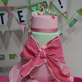 Bookworm Baby Shower Cake