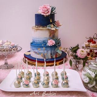 Watercolour wedding cake + candy bar