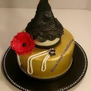 Black and Gold Fashion Themed Cake