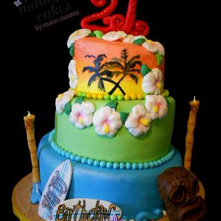 Luau at the  Beach and Sunset - Cake by Maria Cazarez Cakes and Sugar Art