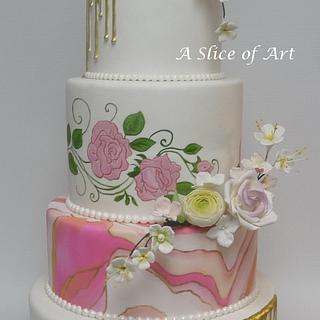 Painted marbled Wedding cake