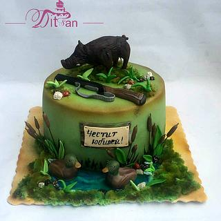 Cake for hunter and fisherman