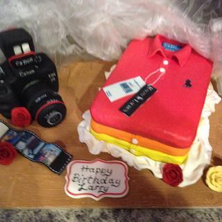 Polo shirt and light up camera cake