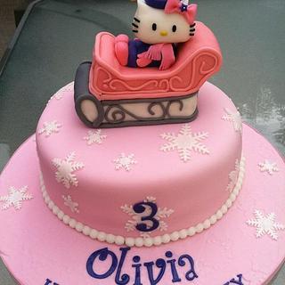 Hello Kitty Winter Wonderland Birthday Cake