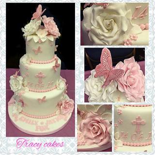 girls christening cake - Cake by Tracycakescreations