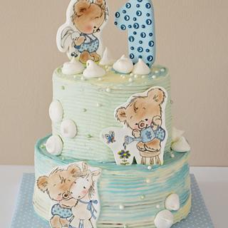 Teddy bears 1st birthday cake