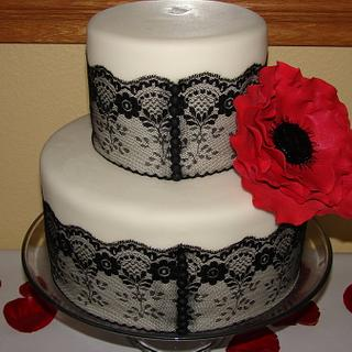 Bridal Show Black Lace with Red Flower Tiered Cake
