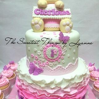 ombre ruffle bunny cake