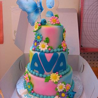 Pretty Rainbow Tiered Cake