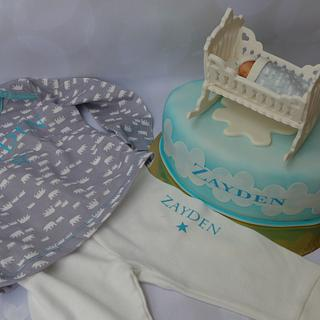 baby shower cake in combination wit present