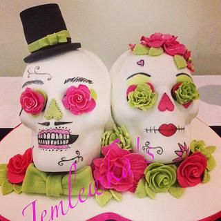 Alternative wedding cake sugar skulls bride and groom