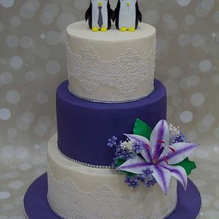 """Wedding Penguins "" - Cake by Nidhi Patel Sharma"