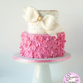 Pink and Gold Ruffled Cake