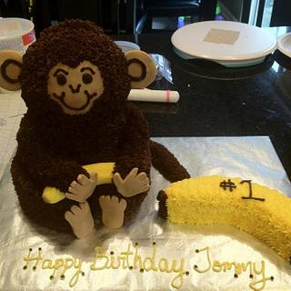 3D Monkey 1st Birthday - Cake by Dawn Henderson