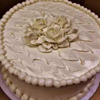 Italian buttercream cake with flowers