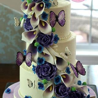 Picasso Calla Lilies, Purple Roses & Butterflies Cascade