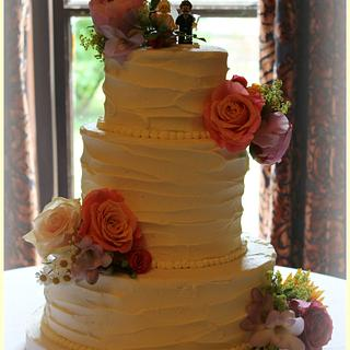 Roughed Up Buttercream Wedding Cake