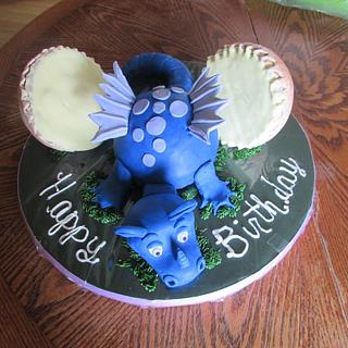 Blue Dragon and Egg - Cake by Laura
