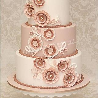 Fabric Flower Inspired Wedding Cake