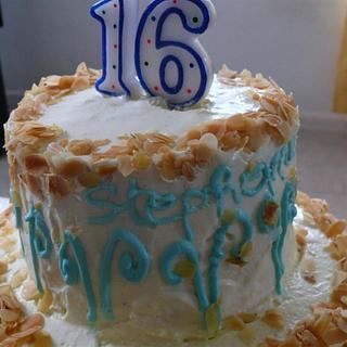 Almond and vanilla birthday cake